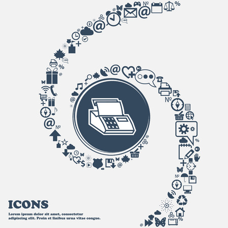checkout line: Cash register machine icon sign in the center. Around the many beautiful symbols twisted in a spiral. You can use each separately for your design. Vector illustration Illustration