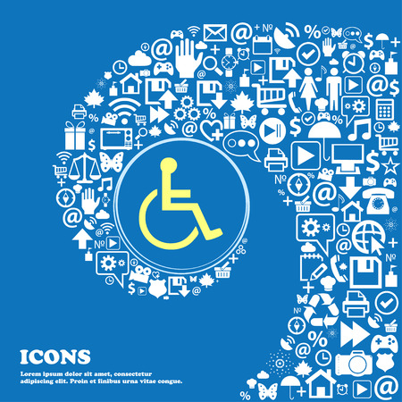 paralyze: disabled sign symbol. Nice set of beautiful icons twisted spiral into the center of one large icon. Vector illustration Illustration