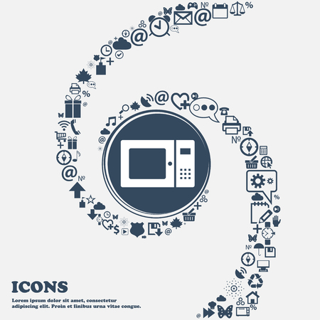 microwave icon in the center. Around the many beautiful symbols twisted in a spiral. You can use each separately for your design. Vector illustration