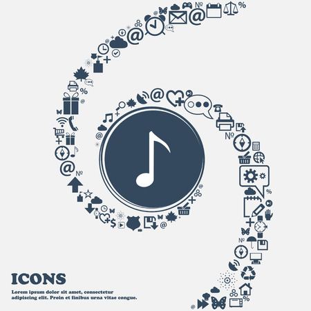 sign simplicity: Music note icon sign in the center. Around the many beautiful symbols twisted in a spiral. You can use each separately for your design. Vector illustration