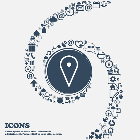 web portal: map poiner icon sign in the center. Around the many beautiful symbols twisted in a spiral. You can use each separately for your design. Vector illustration
