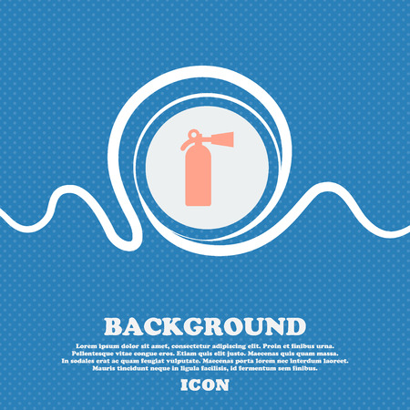 suppression: fire extinguisher sign icon. Blue and white abstract background flecked with space for text and your design. Vector illustration
