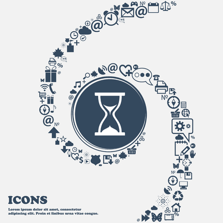 timepieces: hourglass icon in the center. Around the many beautiful symbols twisted in a spiral. You can use each separately for your design. Vector illustration Illustration