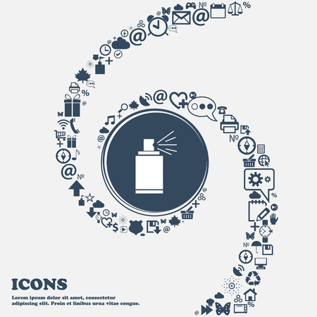 aerosol can: Graffiti spray can sign icon. Aerosol paint symbol in the center. Around the many beautiful symbols twisted in a spiral. You can use each separately for your design. Vector illustration