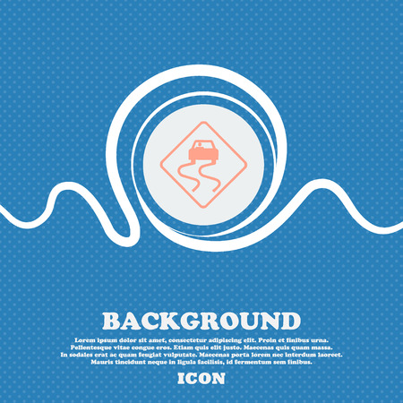 slippery floor: Road slippery sign icon. Blue and white abstract background flecked with space for text and your design. Vector illustration