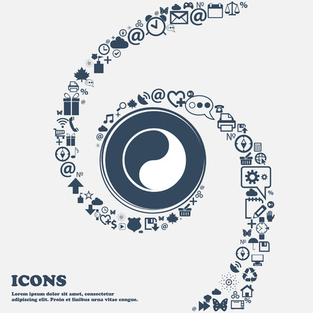 Yin Yang icon sign in the center. Around the many beautiful symbols twisted in a spiral. You can use each separately for your design. Vector illustration 向量圖像
