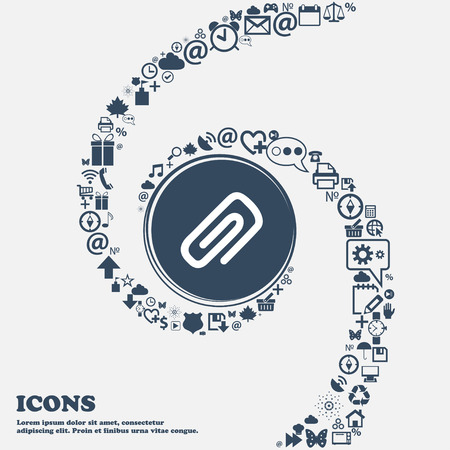 metalic sheet: clip to paper icon sign in the center. Around the many beautiful symbols twisted in a spiral. You can use each separately for your design. Vector illustration