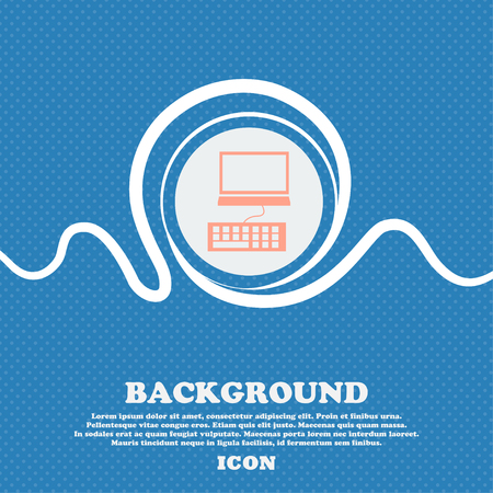 qwerty: Computer monitor and keyboard Icon. Blue and white abstract background flecked with space for text and your design. Vector illustration