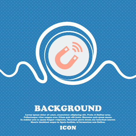 electromagnetic field: Magnet sign icon. Blue and white abstract background flecked with space for text and your design. Vector illustration