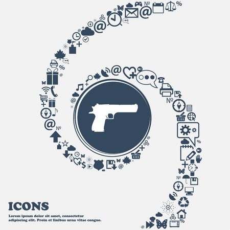 gas mask danger sign: gun icon sign in the center. Around the many beautiful symbols twisted in a spiral. You can use each separately for your design. Vector illustration