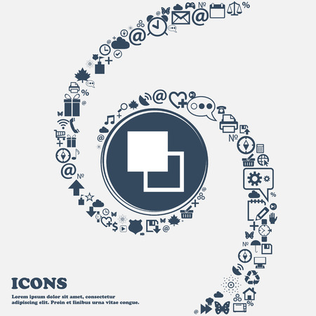 photoshop: Active color toolbar icon sign in the center. Around the many beautiful symbols twisted in a spiral. You can use each separately for your design. Vector illustration