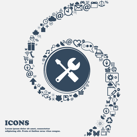wrench and screwdriver icon in the center. Around the many beautiful symbols twisted in a spiral. You can use each separately for your design. Vector illustration