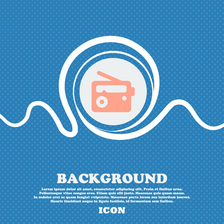 fm: Retro Radio  sign icon. Blue and white abstract background flecked with space for text and your design. Vector illustration
