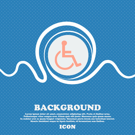 dog wheelchair: disabled sign icon. Blue and white abstract background flecked with space for text and your design. Vector illustration