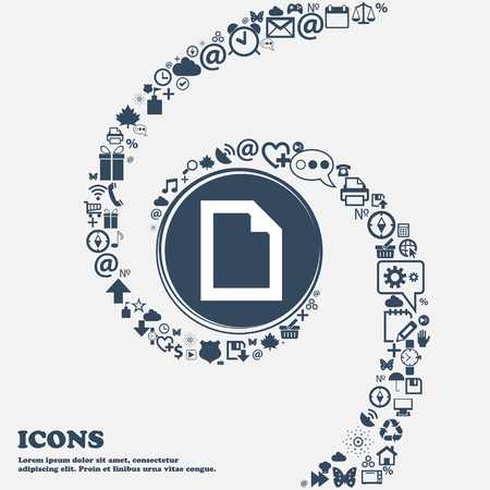 separately: Text File document icon sign in the center. Around the many beautiful symbols twisted in a spiral. You can use each separately for your design. Vector illustration Illustration