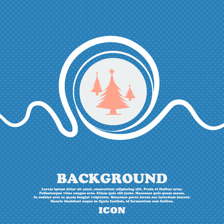 coniferous: coniferous forest, tree, fir-tree sign. Blue and white abstract background flecked with space for text and your design. Vector illustration Illustration