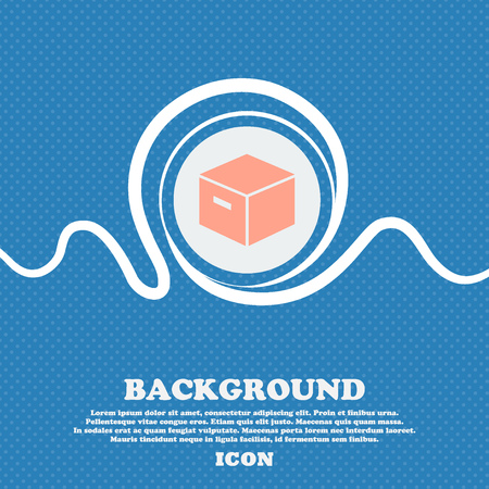 stockpile: packaging cardboard box icon sign. Blue and white abstract background flecked with space for text and your design. Vector illustration Illustration