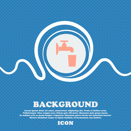 soda splash: faucet, glass, water sign icon. Blue and white abstract background flecked with space for text and your design. Vector illustration Illustration