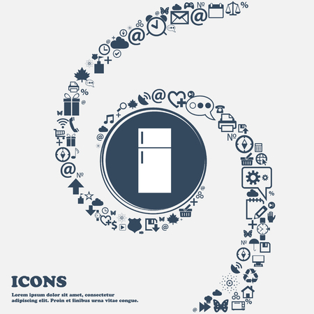 cold storage: Refrigerator icon sign in the center. Around the many beautiful symbols twisted in a spiral. You can use each separately for your design. Vector illustration Illustration