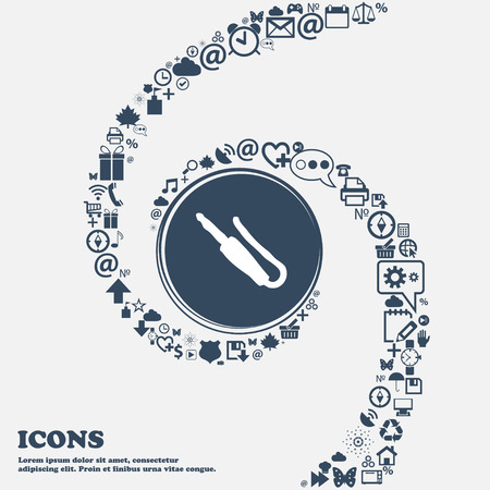 minijack: plug, mini jack icon sign in the center. Around the many beautiful symbols twisted in a spiral. You can use each separately for your design. Vector illustration Illustration