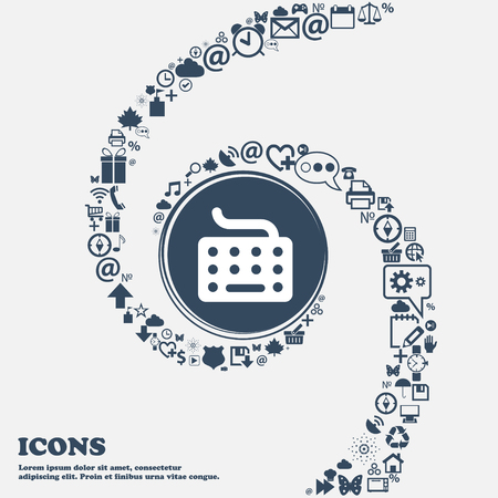 peripherals: keyboard icon sign in the center. Around the many beautiful symbols twisted in a spiral. You can use each separately for your design. Vector illustration