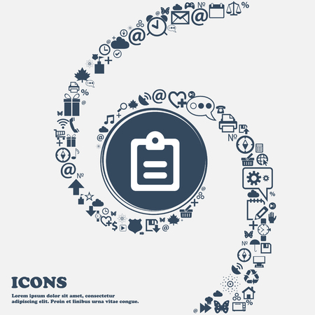 separately: Text file icon sign in the center. Around the many beautiful symbols twisted in a spiral. You can use each separately for your design. Vector illustration