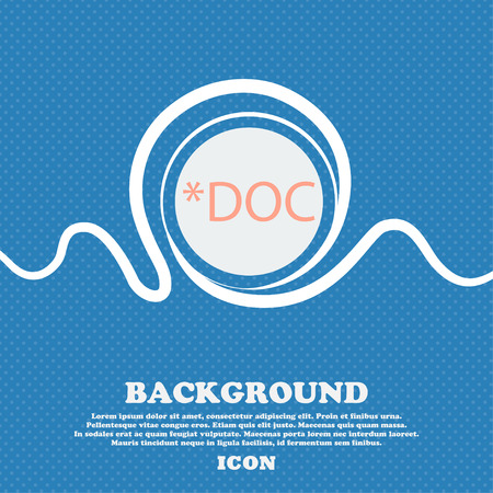 doc: File document icon. Download doc button. Doc file extension symbol. Blue and white abstract background flecked with space for text and your design. Vector illustration