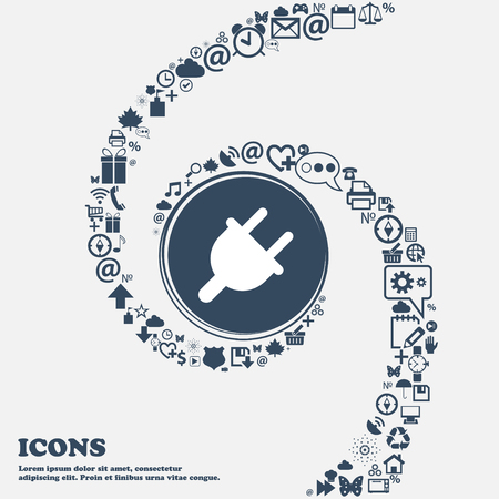 energy use: Electric plug, Power energy icon sign in the center. Around the many beautiful symbols twisted in a spiral. You can use each separately for your design. Vector illustration