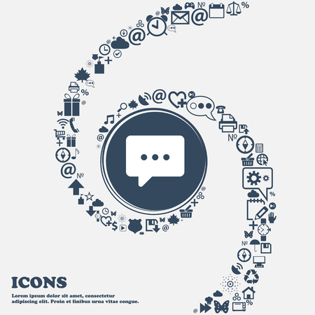 halfone: Cloud of thoughts icon sign in the center. Around the many beautiful symbols twisted in a spiral. You can use each separately for your design. Vector illustration