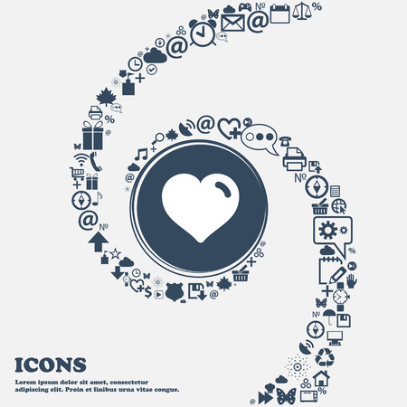 separately: Heart, Love icon sign in the center. Around the many beautiful symbols twisted in a spiral. You can use each separately for your design. Vector illustration Illustration