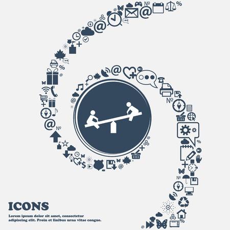 oscilación del icono de la muestra en el centro. Alrededor de los muchos símbolos hermosas trenzado en forma de espiral. Se puede utilizar cada uno por separado para su diseño. ilustración vectorial