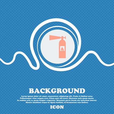 fire extinguisher icon sign. Blue and white abstract background flecked with space for text and your design. Vector illustration