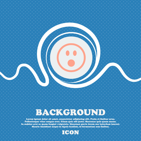 shaken: Shocked Face Smiley  sign icon. Blue and white abstract background flecked with space for text and your design. Vector illustration Illustration