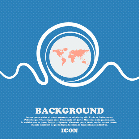 geography background: Globe sign icon. World map geography symbol. Blue and white abstract background flecked with space for text and your design. Vector illustration