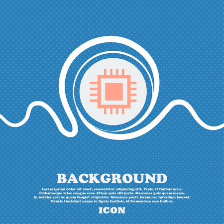 computer transistors: Central Processing Unit Icon. Technology scheme circle symbol. Blue and white abstract background flecked with space for text and your design. Vector illustration