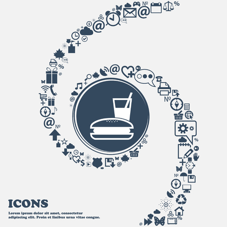 lunch box: lunch box icon sign in the center. Around the many beautiful symbols twisted in a spiral. You can use each separately for your design. Vector illustration