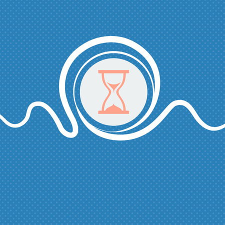timepieces: hourglass icon sign. Blue and white abstract background flecked with space for text and your design. illustration Stock Photo