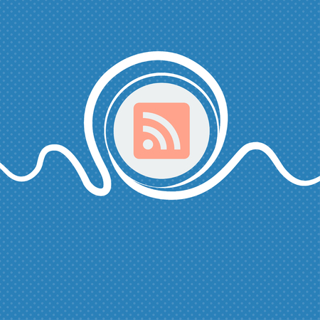rss feed icon: RSS feed sign icon. Blue and white abstract background flecked with space for text and your design. illustration Stock Photo