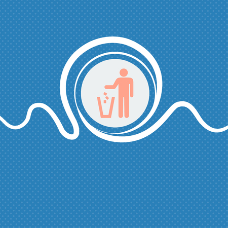 bad idea: throw away the trash sign icon. Blue and white abstract background flecked with space for text and your design. illustration