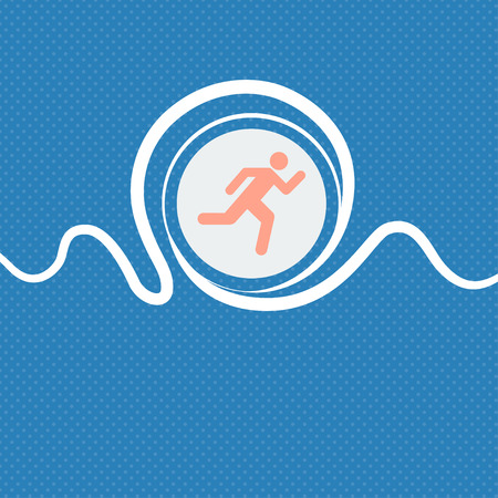 runner up: running man sign icon. Blue and white abstract background flecked with space for text and your design. illustration