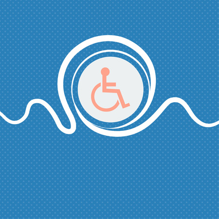 invalid: Disabled sign icon. Human on wheelchair symbol. Handicapped invalid sign. Blue and white abstract background flecked with space for text and your design. illustration