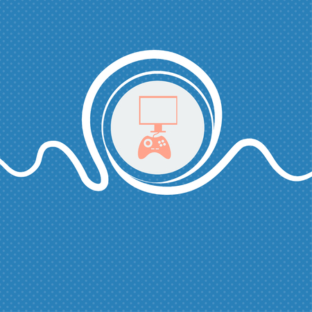 quality controller: Joystick and monitor sign icon. Video game symbol. Blue and white abstract background flecked with space for text and your design. illustration