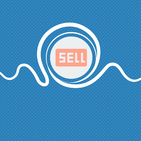 contributor: Sell, Contributor earnings sign icon. Blue and white abstract background flecked with space for text and your design. illustration Stock Photo