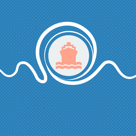 ship sign: ship sign icon. Blue and white abstract background flecked with space for text and your design. illustration