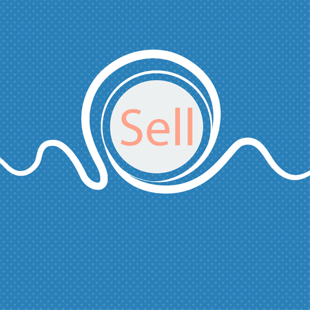 contributor: Sell sign icon. Contributor earnings button. Blue and white abstract background flecked with space for text and your design. illustration Stock Photo