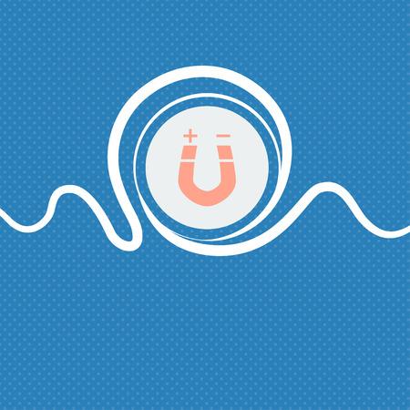 magnetismo: magnete a ferro di cavallo, il magnetismo, magnetizzare, attrazione segno. Blu e bianco astratto punteggiato con lo spazio per il testo e il vostro disegno. illustrazione