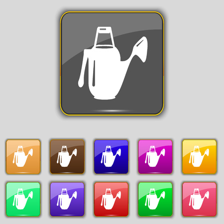 seeding: Watering can icon sign. Set with eleven colored buttons for your site. illustration