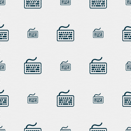 input device: Keyboard icon sign. Seamless pattern with geometric texture. illustration