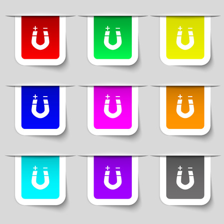 magnetize: horseshoe magnet, magnetism, magnetize, attraction icon sign. Set of multicolored modern labels for your design. illustration Stock Photo