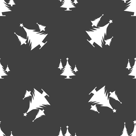 coniferous forest: bosques de coníferas, árbol, árbol de abeto icono de la muestra. patrón transparente sobre un fondo gris. ilustración Foto de archivo